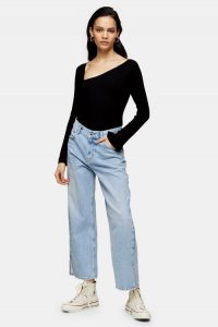 Topshop Boutique Mid Stone Split Ankle Jeans