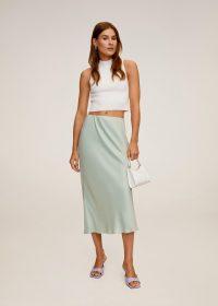 MANGO BIAS Midi satin skirt aqua green | luxe look skirts