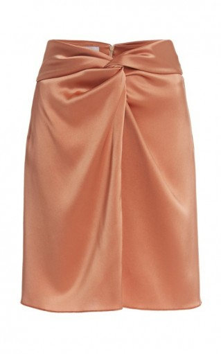 Nanushka Milo Draped Satin Mini Skirt ~ luxe gathered skirts
