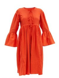 LOUP CHARMANT Minerva bell-sleeve organic-cotton dress ~ red boho summer dresses