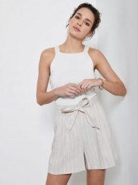 Mint Velvet Striped Paperbag Shorts – Beige