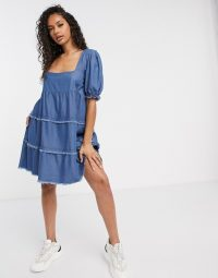 Missguided denim smock dress with square neck   blue tiered dresses