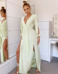Missguided slinky plunge maxi dress with slit in lime