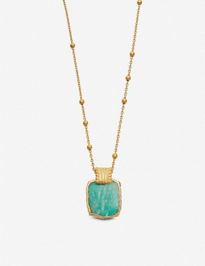 MISSOMA Lena 18ct yellow gold-vermeil and amazonite charm necklace - flipped