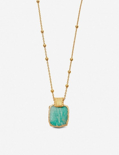 MISSOMA Lena 18ct yellow gold-vermeil and amazonite charm necklace