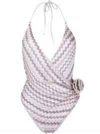 Missoni Mare wrap-front halterneck floral applique swimsuit