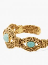 AURÉLIE BIDERMANN Mizuhiki amazonite-embellished cuff ~ inspired by Japanese craftsmanship ~ blue stone bohemian cuffs