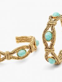 AURÉLIE BIDERMANN Mizuhiki cabochon and gold-plated earrings ~ boho hoops