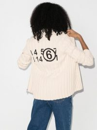 MM6 Maison Margiela Embroidered Logo Zipped Cardigan