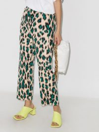 MM6 Maison Margiela leopard-print high-waist trousers beige / green