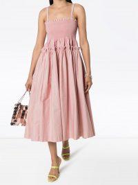 Molly Goddard Marlinene pleated midi dress ~ pink smocked bodice sundress