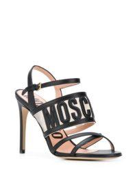 MOSCHINO embossed logo sandals / designer heels