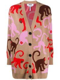 MSGM monkey intarsia oversized cardigan / longline cardigans / monkies