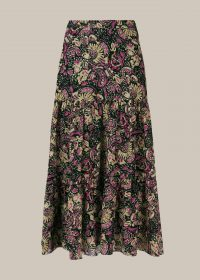 WHISTLES BATIK PRINT SILK MIX SKIRT / floaty skirts
