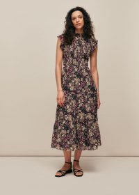 WHITSLES BATIK PRINT SILK SMOCK DRESS