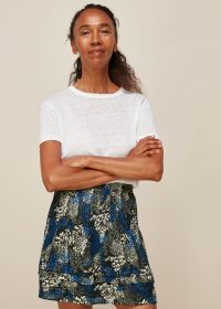 Whistles MARBLE ANIMAL PRINT SKIRT | tiered hem skirts
