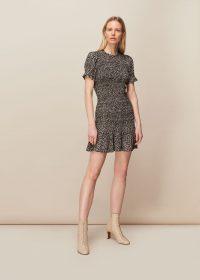 WHISTLES YASMIN SPOT SHIRRED DRESS ~ summer mini