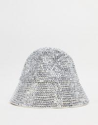 My Accessories London Exclusive bucket hat in diamante / glittering silver hats