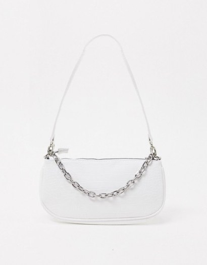 My Accessories London 90s shoulder bag with chain in white croc / baguette style handbags - flipped