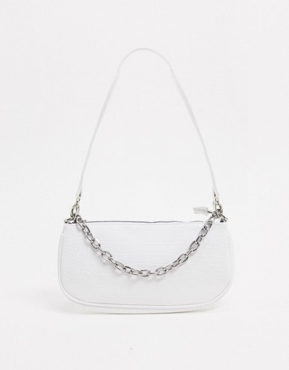 My Accessories London 90s shoulder bag with chain in white croc / baguette style handbags