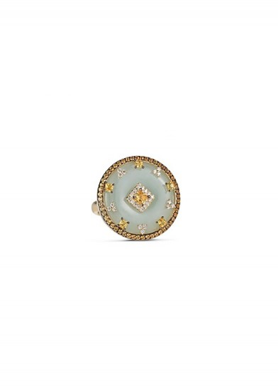 NADINE AYSOY Celeste yellow sapphire and jade disc / luxe statement rings