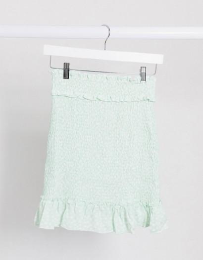 Na-kd ditsy floral smocked mini skirt in green – frill hem skirts