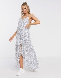 Na-kd floral sheer overlay maxi dress in white with blue flower
