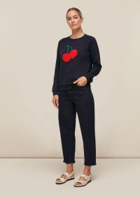 WHISTLES CHERRY EMBROIDERED SWEAT / cherries / navy sweatshirts