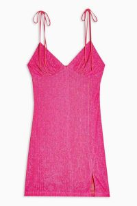 TOPSHOP Neon Pink Sequin Slip Dress
