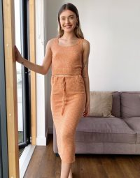 Neon Rose crop cami top in marl knit co-ord in rust ~ summer knits