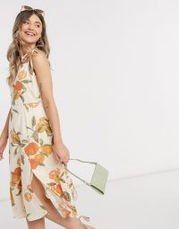 Neon Rose structured midi dress with tie straps in grapefruit print