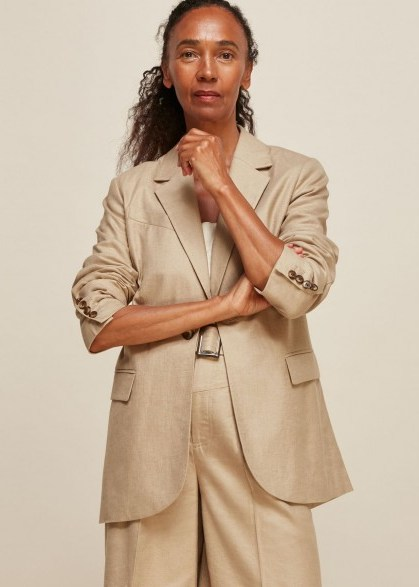 Whistles LIMITED EDITION TAILORED NEUTRAL JACKET | summer outerwear - flipped
