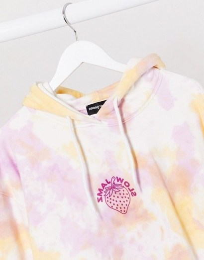 New Girl Order Curve oversized hoodie in tie dye with strawberry print - flipped
