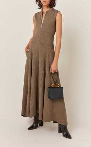 Jil Sander Nicole Zip-Detailed Wool Maxi Dress