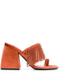 NODALETO 100mm fringed sandals in tangerine | groovy vintage look embellished sandal