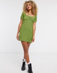Noisy May skater dress with puff sleeves in green check / sweetheart necklines