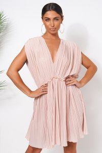 THE FASHION BIBLE NUDE GRECIAN CHIFFON PLEATED DRESS – deep V-neckline dresses