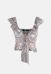 MISSGUIDED nude paisley print ruffle bralet ~ summer crop top