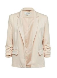 MISS SELFRIDGE Nude Ruche Sleeve Ponte Blazer – ruched detail jacket