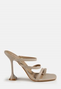MISSGUIDED nude triple strap feature heel sandals