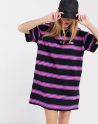 Obey t-shirt dress in multi stripe with embroidered logo black multi