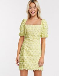 Object broderie milkmaid mini dress with puff sleeves in yellow | square neck summer dresses