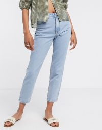 Object mom jeans in light blue wash   high rise   tapered leg