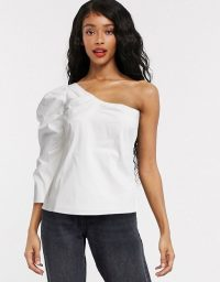 Object one shoulder top with puff sleeve in white | asymmetric neckline tops