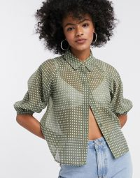 Object sheer shirt in green check