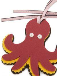 LOEWE PAULA'S IBIZA Octopus foam and leather key charm / burgundy key charms / sea creatures