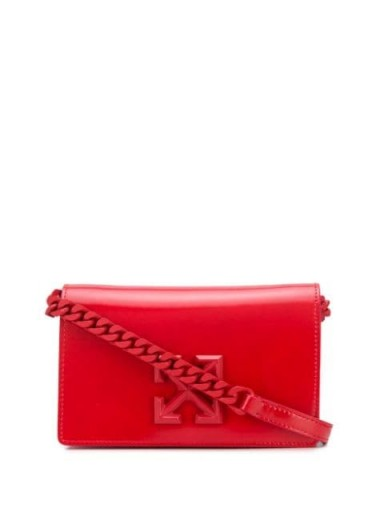 OFF-WHITE Arrows logo crossbody bag / small red leather bags