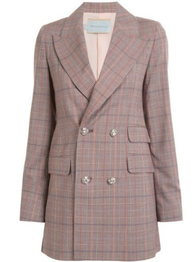 Olivia Palermo's longline checked jacket worn out in New York, 12 June 2020, from Olivia Palermo tartan print embellished button blazer   celebrity street style   jackets and blazers - flipped