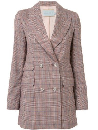 Olivia Palermo's longline checked jacket worn out in New York, 12 June 2020, from Olivia Palermo tartan print embellished button blazer   celebrity street style   jackets and blazers