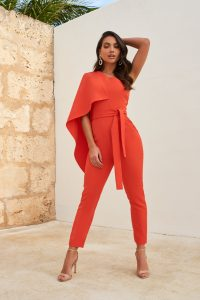 LAVISH ALICE one shoulder cape jumpsuit in hot coral – vibrant jumpsuits